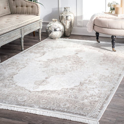 Vintage Medallion Cantrell Fringe Rug traditional Farmhouse decor ivory