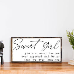Sweet Girl Wood Sign, Farmhouse Decor, Wall Hanging, Girl's Room