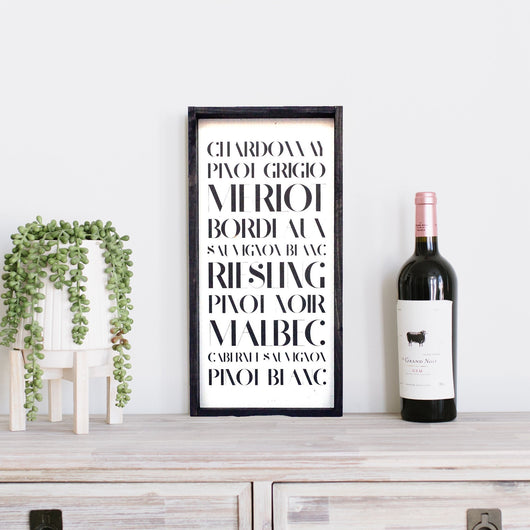 Types of Wine Wood Sign Farmhouse decor kitchen wall hanging