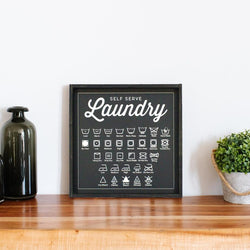 Laundry Symbols Wood Sign Farmhouse Decor black wall sign