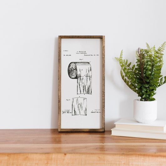 Toilet Paper Patent Wood Sign farmhouse decor bathroom wall hanging