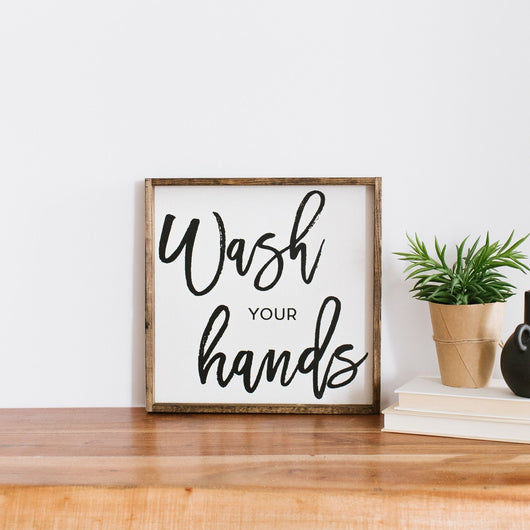 Wash Your Hands Wood Sign Farmhouse wall decor bathroom decor