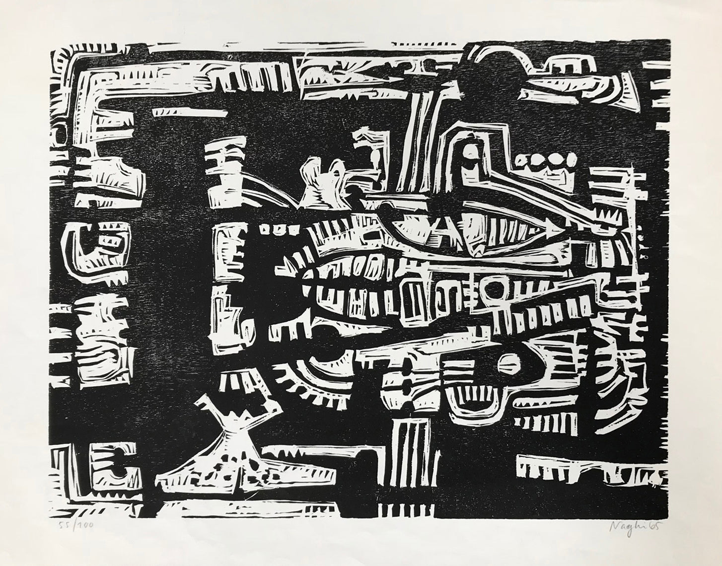 Black & White Woodcut Composition: Edition 55/100