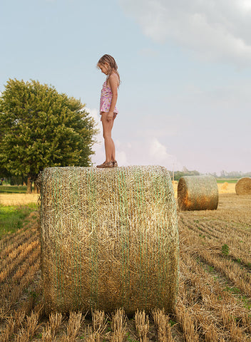 Girl on Haystack, by Lucille Khornak