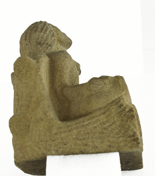 Late 19th Century Stone Carved Figure of Seated Angel 1897