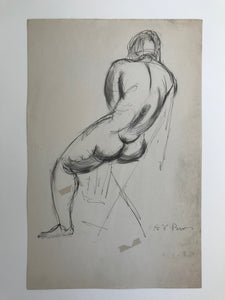 Henry Varnum Poor, Untitled: Rearview Of a Seated Nude, Mid 20th Century