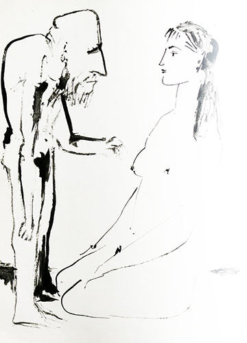 A strange looking male figure interacts with the naked female form in this sketch for Verve Book 6