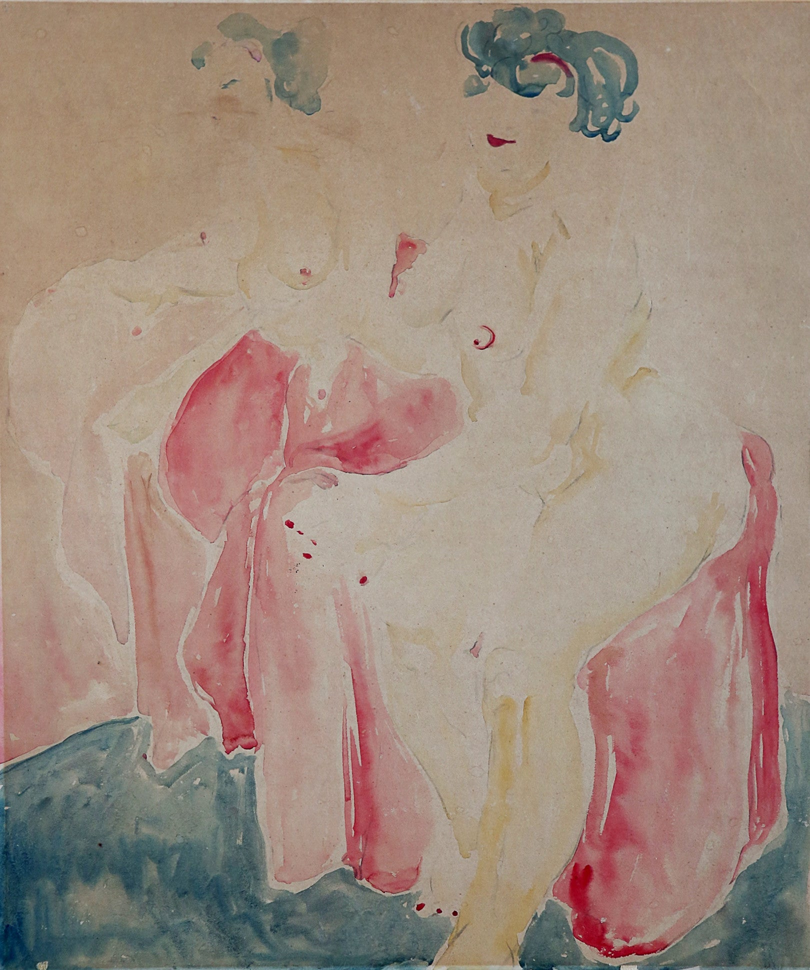 Pink Seated Nude, by Unknown