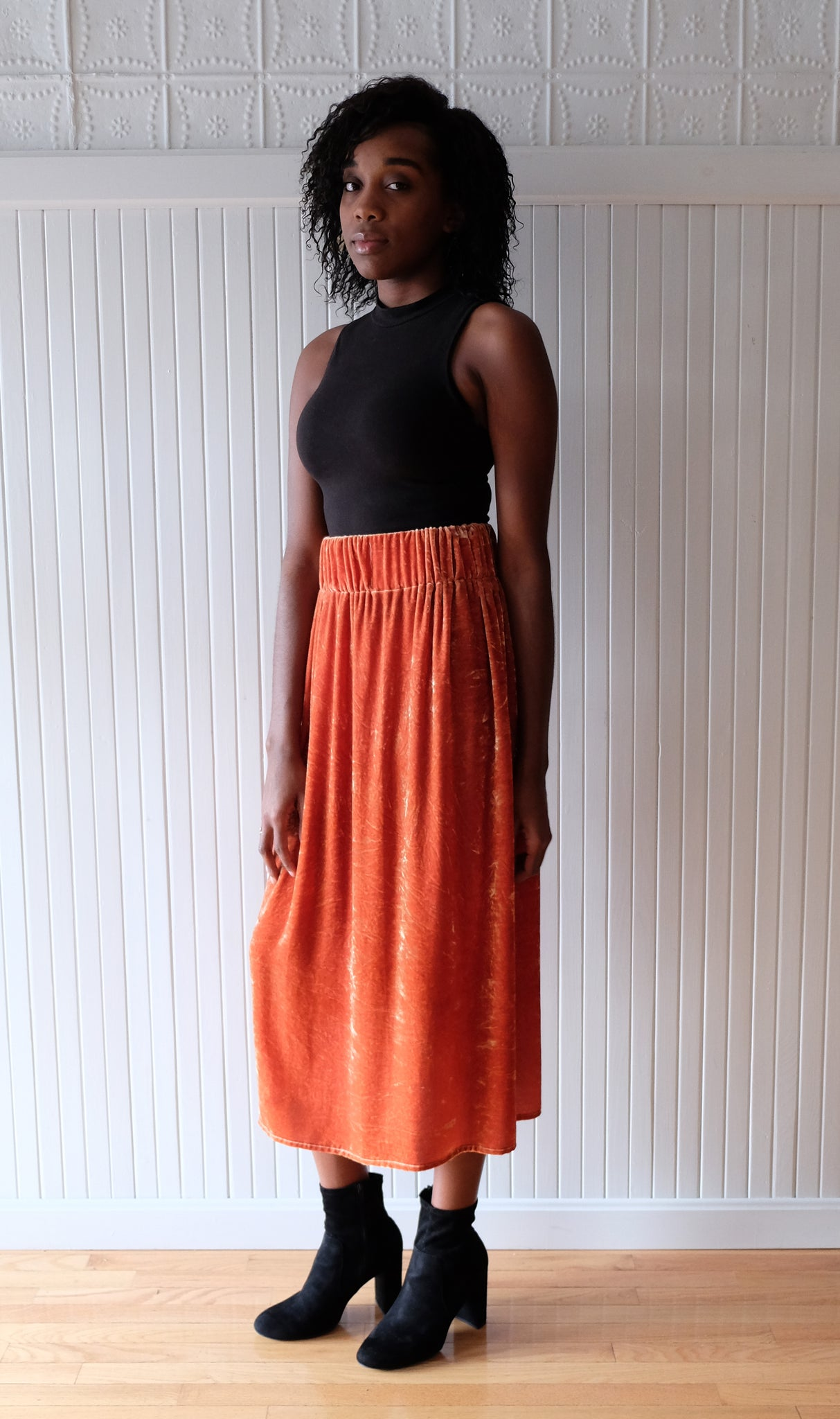 Miranda Bennett / Paperbag Skirt Velvet Anais (orange)