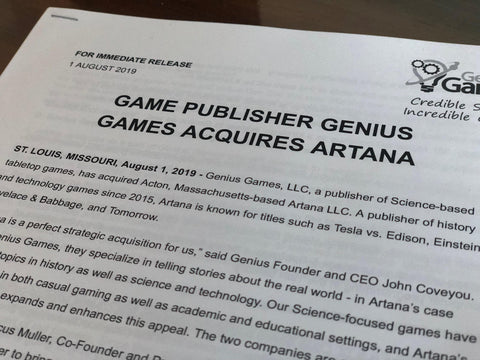 Genius Games Acquires Artana