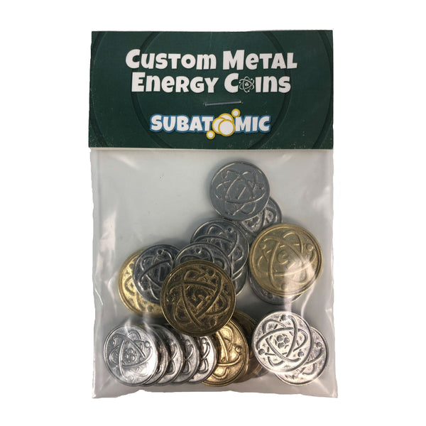 Custom Metal Energy Coins for Subatomic: An Atom Building Game