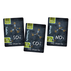 Polyatomic Ion Cards, Sulfate, Carbonate and Nitrate for Ion the Chemistry Card Game