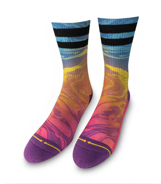 Women's Merge 4 Marbled Stripe Crew Sock