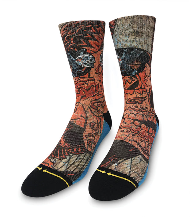 Unisex Merge 4 Slogan Skull Bird Sock