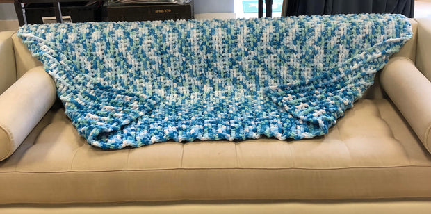 Handmade Large Afgan - Teal/White