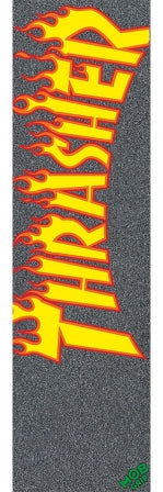 Mob 9in x 33in Thrasher Yellow and Orange Flame Sheet Mob Skateboard Grip Tape