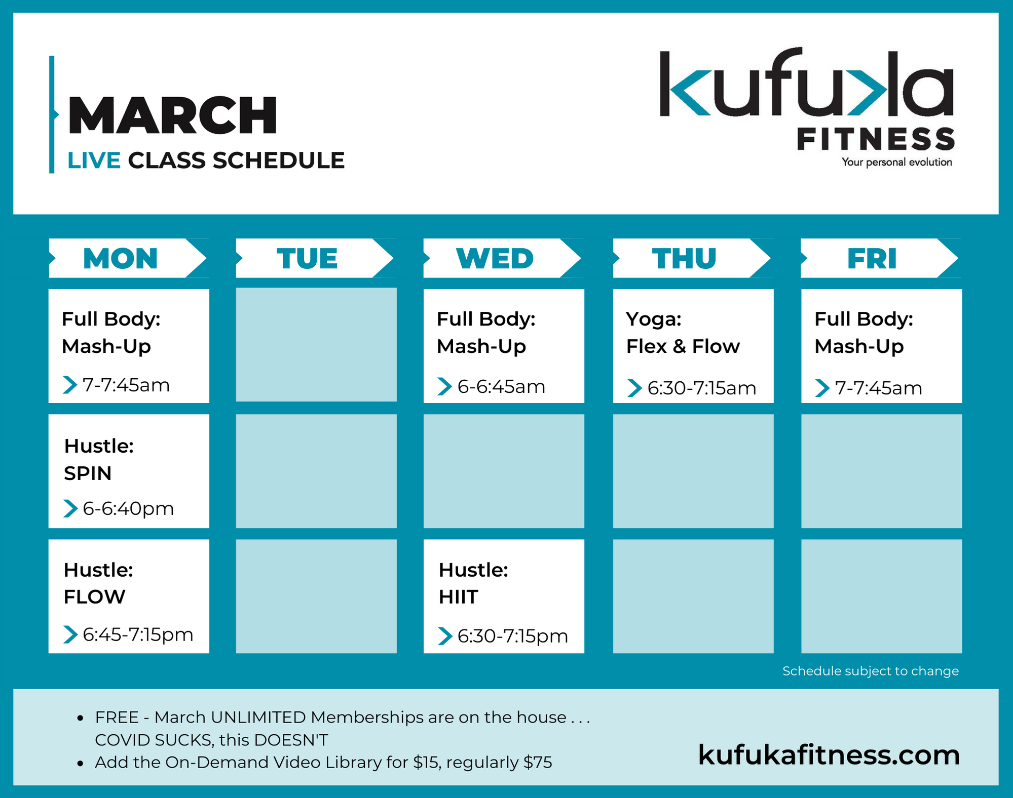 Kufuka Live Online Class Schedule March 2021