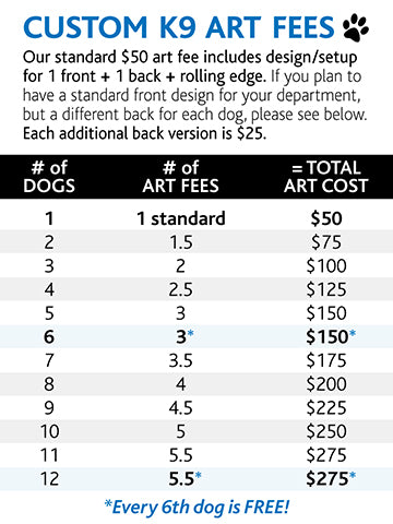 K9 art fee by number of dogs