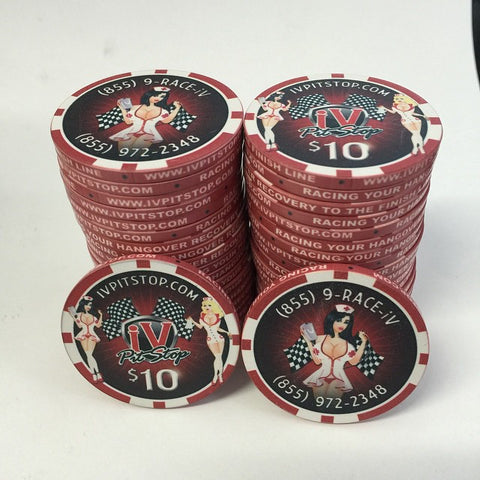 IV Pitstop business card poker chips