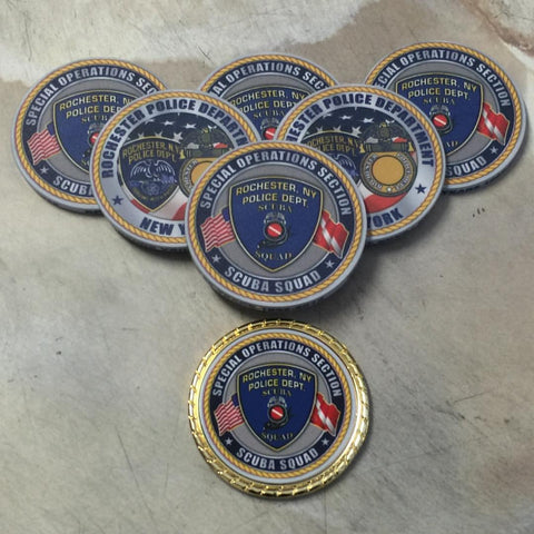 RNYPD Scuba ceramic and metal challenge coins