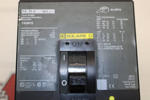 Square D FA34015 Molded Case Circuit Breaker 15 Amp 480 Volt