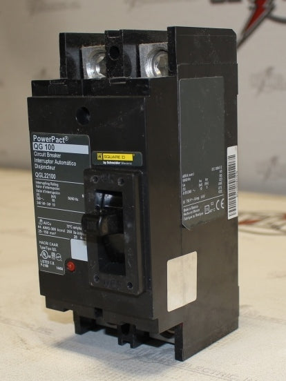 Square D QGL22100 2 Pole Molded Case Circuit Breaker 100 Amp 240 Volt