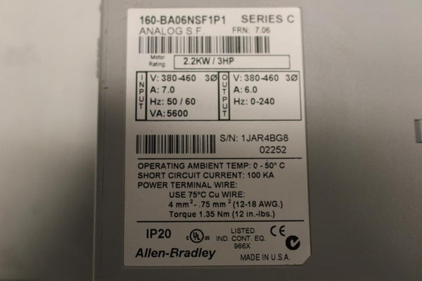 Allen Bradley Variable Frequency Drive Catalog Number 160-BA06NSF1P1