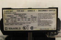 SQUARE D 9421NC3 DISCONNECT SWITCH 30AMP 600VAC 250VDC