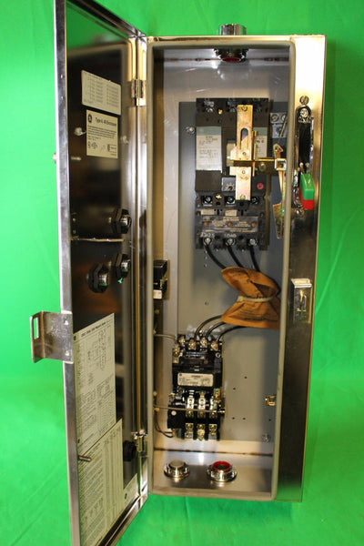 General Electric Size 1 FVNR Combination Starter Circuit Breaker Disconnect Type N-4 4X Enclosure