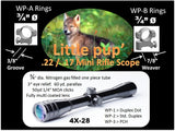 WolfPup 4X PCH, scope includes rings and lens covers