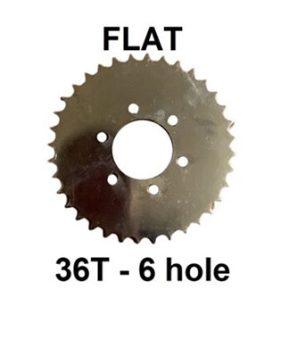 36T 6 hole Flat Sprocket for #2 HD Axle 6 hole solid hub