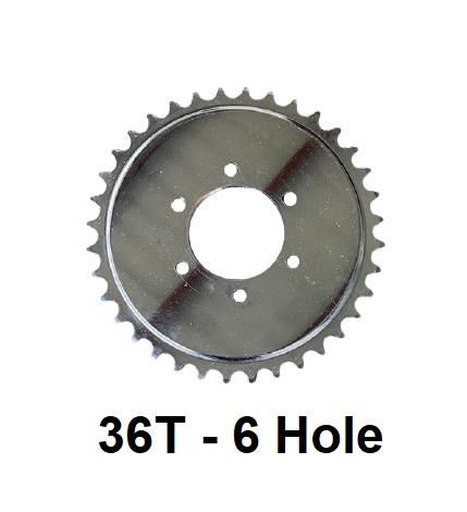 36T 6 hole sprocket for #2 HD Axle Solid Hub