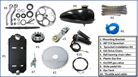 Huasheng 49/53cc 4 stroke engine Installation Kit.