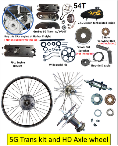 5G -54T - Belt Drive Transmission kit & HD Axle Wheel for 79cc Predator