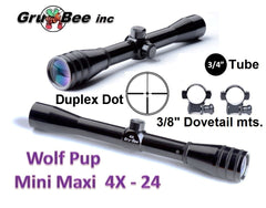 WolfPup 4X Duplex Dot Scope with rings & lens covers