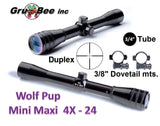 WolfPup 4X Duplex Scope with Rings and lens covers