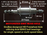 HD axle Model #1 with freewheel hub.