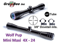 WolfPup 4X WIDE Duplex Scope with rings & lens covers