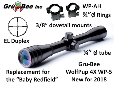 WolfPup 4X EL Duplex Scope with rings & lens covers