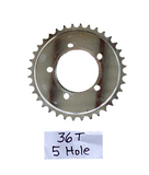 36T 5 hole sprocket for use with freewheel hub only