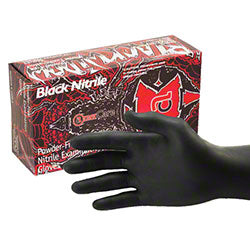 BLACK WIDOW BLACK NITRILE PF XLRG EXAM GLVS 10 BX/CS