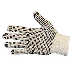 STRING KNIT DOT GLOVES LRG/DOZ ** OSHA PPE **
