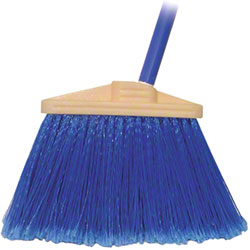 BLUE POLY FLAGGED ANGLED HVY DTY BROOM W/VINYL METAL HANDLE EA
