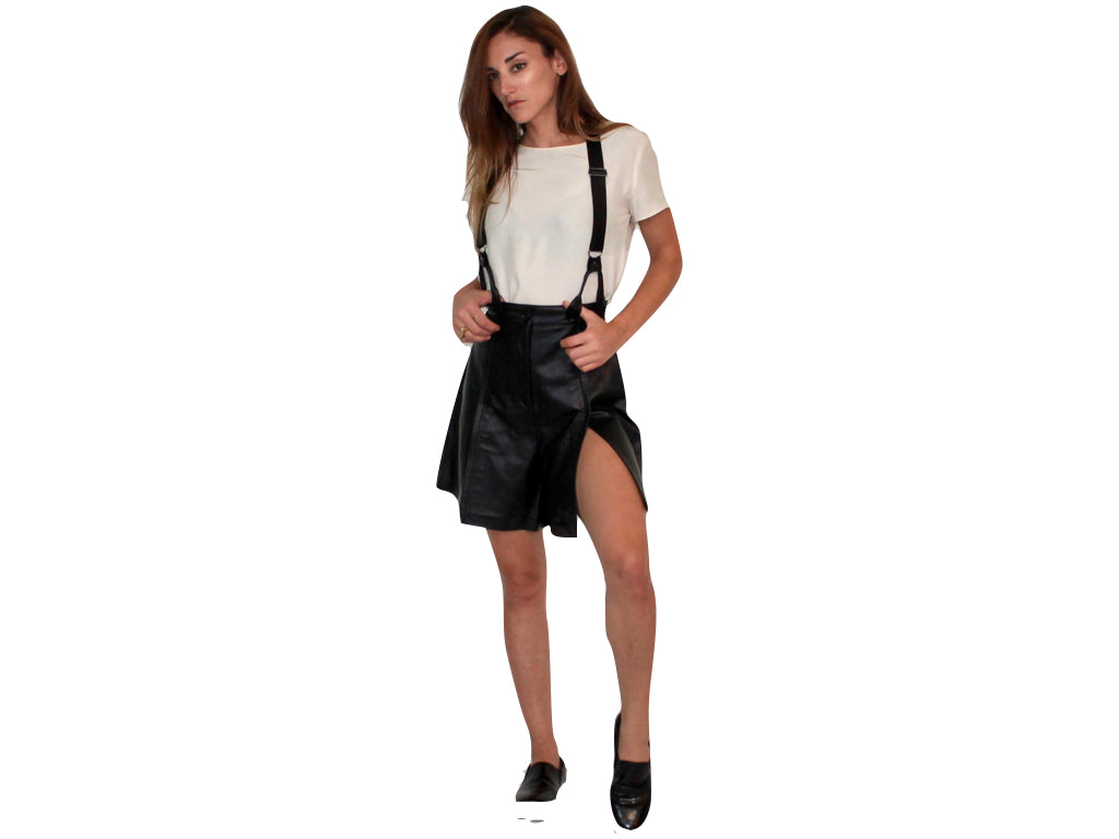 CHARLI LEATHER SUSPENDER SHORTS
