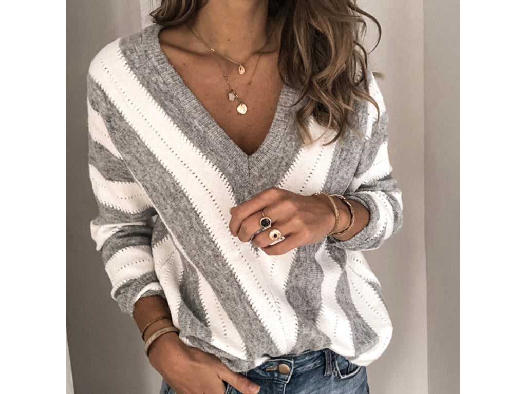 Striped Vneck Knit Sweater