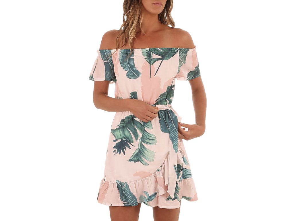 Tropical Print Off-the-Shoulder Boho Dress