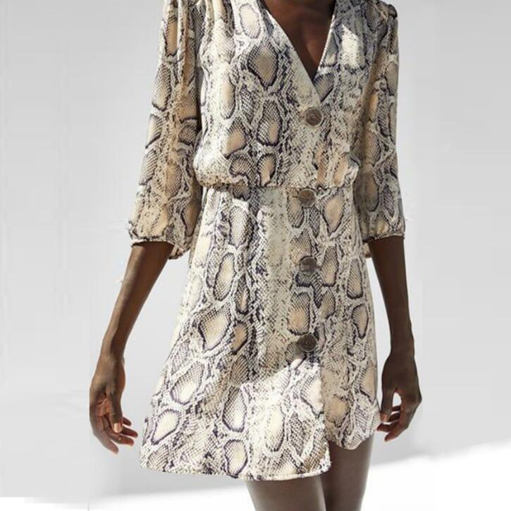 Snakeskin Printed High-Street Dress