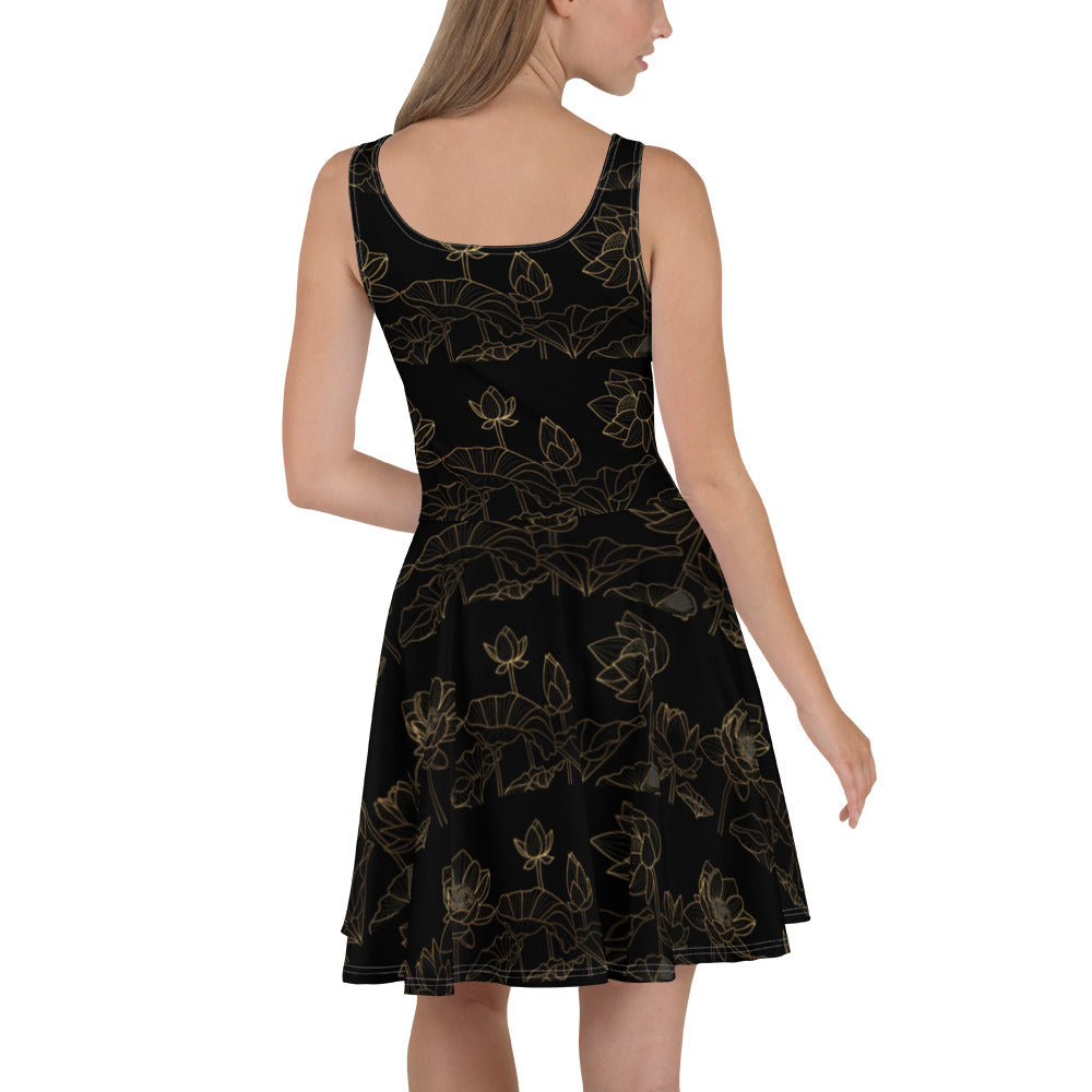 Anjé Golden Lotus Fit & Flare Dress