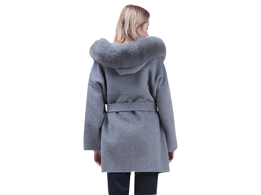 Faux Fur Hooded Wool Coat