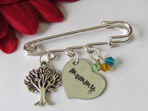 Mommy Brooch w/ Family Tree & Birthstones